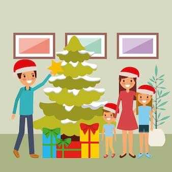 Rodzina wpólnie dekoruje choinki i prezenty