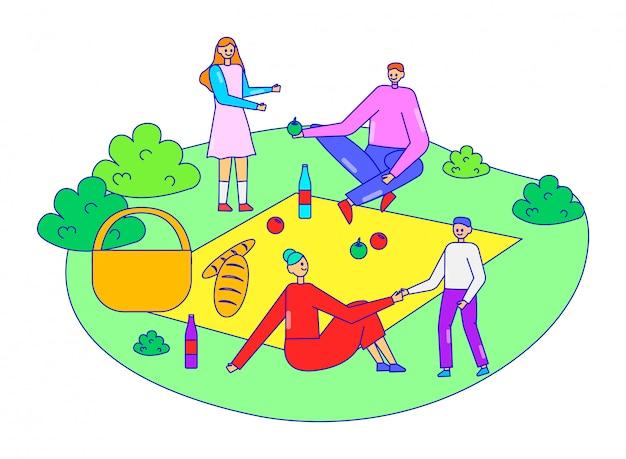 Rodzina wpólnie relaksuje piknikowego czas, charakteru ojca matki i córki osoby wycieczka, odpoczywa na bielu, kreskowa ilustracja.