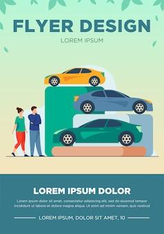 Rodzina wybiera nowy samochód w sklepie samochodowym. pojazd, dziecko, auto płaskie wektor ilustracja. koncepcja zakupów i transportu na baner, projekt strony internetowej lub stronę docelową