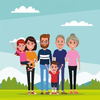 Rodzina z dziećmi kreskówki