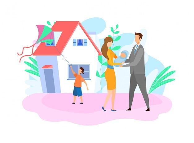 Rodzina z dziećmi płaska wektorowa ilustracja