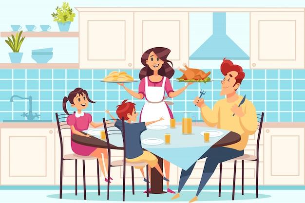 Rodzina z dziećmi siedzi przy łomotać stół, ludzie ma obiadowego pojęcie wpólnie
