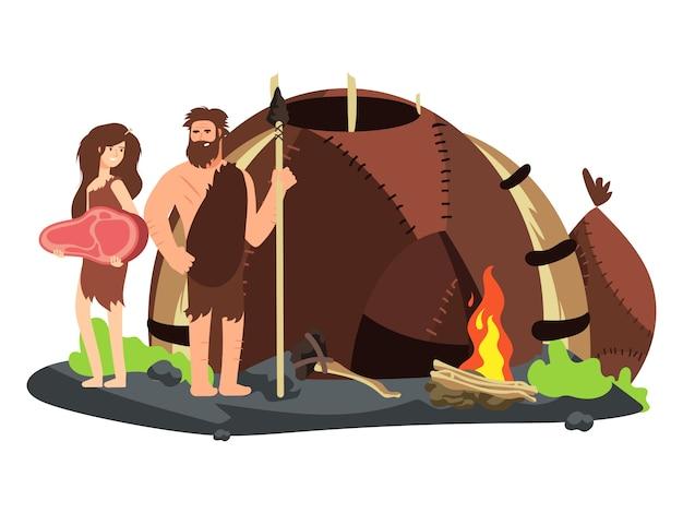 Rodzina z epoki kamienia z kominkiem i domem