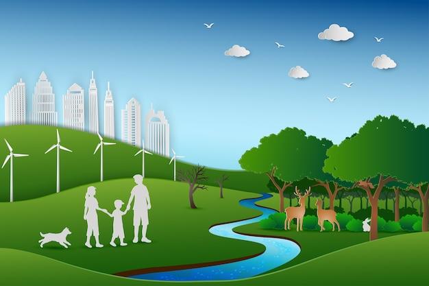 Rodzina z powrotem do zielonego krajobrazu przyrody w stylu sztuki papieru