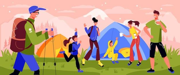 Rodzinna aktywna kompozycja kempingowa z plenerową górską scenerią i namiotami z ilustracją postaci dorosłych i dzieci