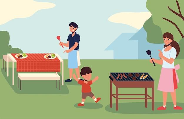 Rodzinna impreza z grillem na podwórku