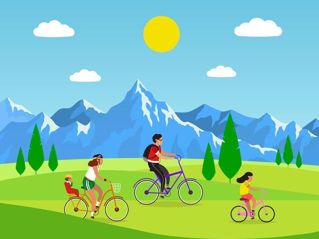 Rodzinna jazda na rowerze. aktywna mama tata i dzieci jeżdżące na rowerach w górach, zajęcia na świeżym powietrzu i sport lub spacery w parku, zdrowy styl życia i koncepcja fitness. płaski wektor kreskówka na białym tle ilustracja