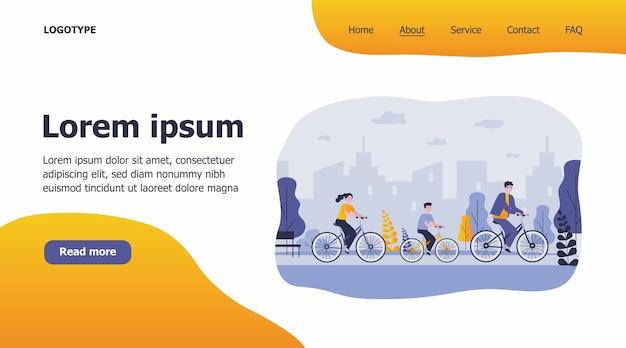 Rodzinna jazda na rowerze w ilustracji parku miejskiego