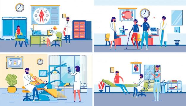 Rodzinna klinika opieki zdrowotnej zestaw z ludźmi.