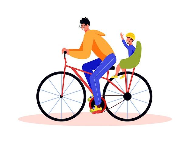 Rodzinna kompozycja aktywnych wakacji z mężczyzną jadącym na rowerze z dzieckiem na krześle