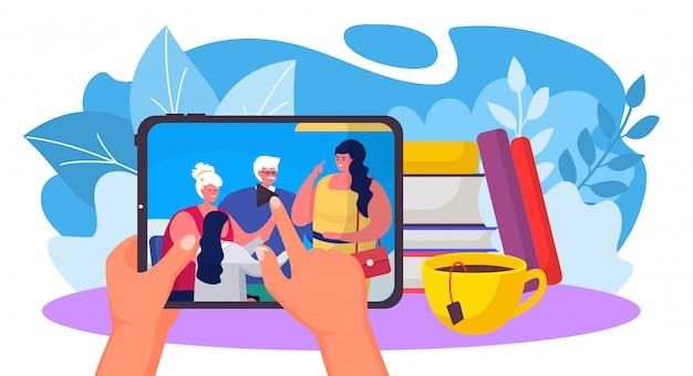 Rodzinna komunikacja wideo, ręka chwyta pastylka z online dialog odizolowywającym na białej, płaskiej wektorowej ilustraci ,. stół z książką paczek, filiżanką herbaty.