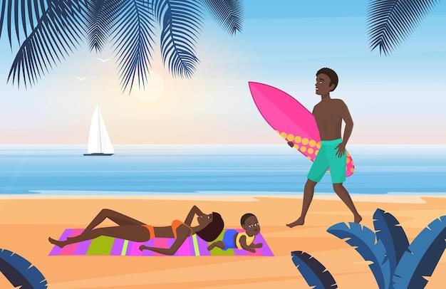 Rodzinna letnia turystyka podróże wakacje na tropikalnej plaży turyści odpoczywają