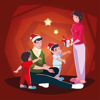 Rodzinna scena bożego narodzenia, rodzice i dzieci