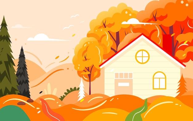 Rodzinna wycieczka jesienna ilustracja jesienne postacie zajęcia na świeżym powietrzu plakat podróżny