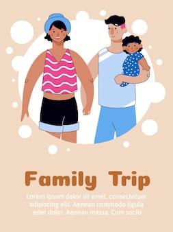 Rodzinna wycieczka z ludźmi kreskówka szkic ilustracji wektorowych.