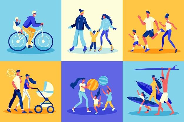 Rodzinne aktywne wakacje zestaw ilustracji