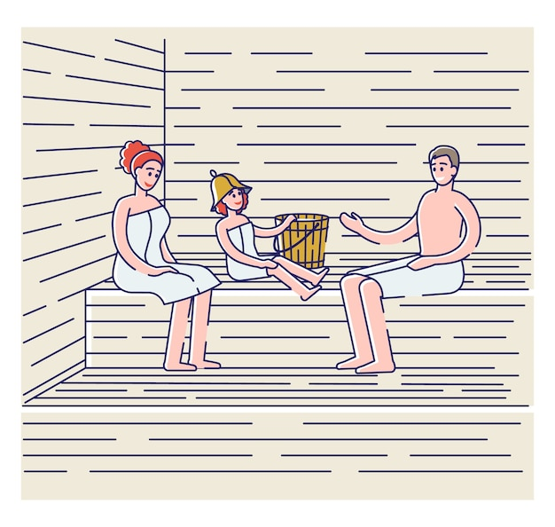 Rodzinne kąpiele w saunie fińskiej lub ruskiej bani. rodzice z dzieckiem w ręcznikach relaks w spa