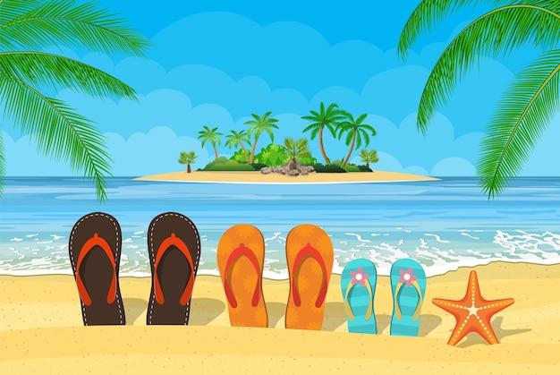 Rodzinne klapki na plaży z morzem