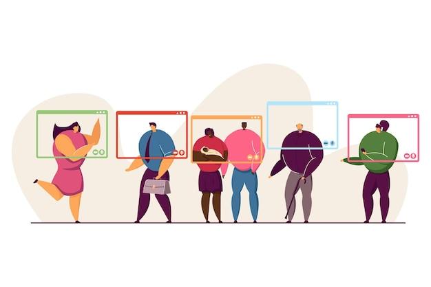 Rodzinne postacie komunikujące się przez okna komputera. dziadek, para z dzieckiem, pracownik biurowy, o rozmowy wideo online podczas pandemii ilustracji wektorowych płaski. koncepcja zdalnego spotkania