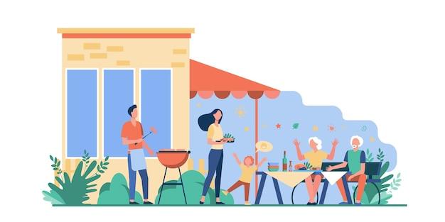 Rodzinne przyjęcie przy grillu. szczęśliwa matka, ojciec, dziadkowie i dziecko gotuje mięso z grilla i je obiad na podwórku. ilustracja wektorowa na weekend, wypoczynek, piknik, bycie razem
