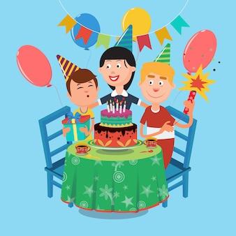 Rodzinne przyjęcie urodzinowe. szczęśliwa rodzina świętuje urodziny syna. ilustracji wektorowych