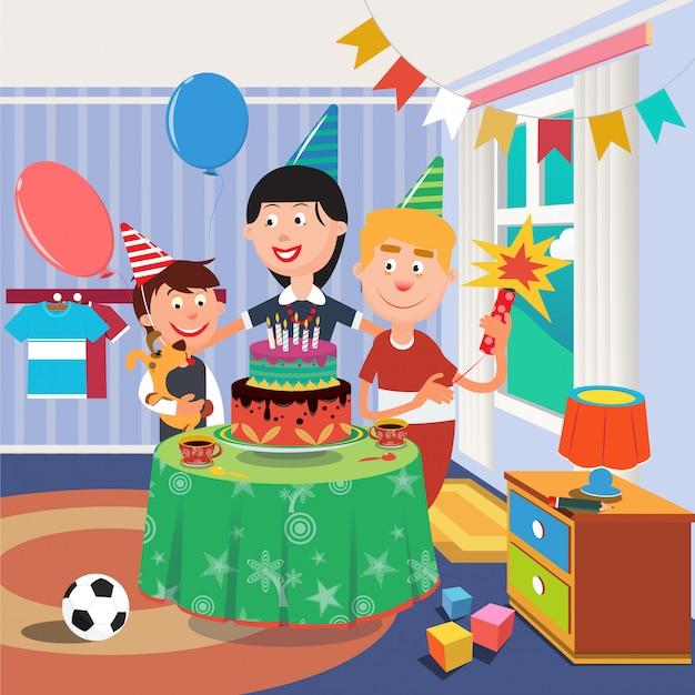 Rodzinne przyjęcie urodzinowe. szczęśliwa rodzina świętuje urodziny synów. chłopiec z psem
