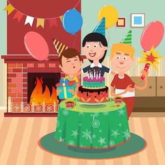 Rodzinne przyjęcie urodzinowe. szczęśliwa rodzina świętuje urodziny synów.