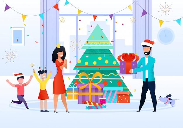 Rodzinne świętuje bożenarodzeniową płaską wektorową ilustrację