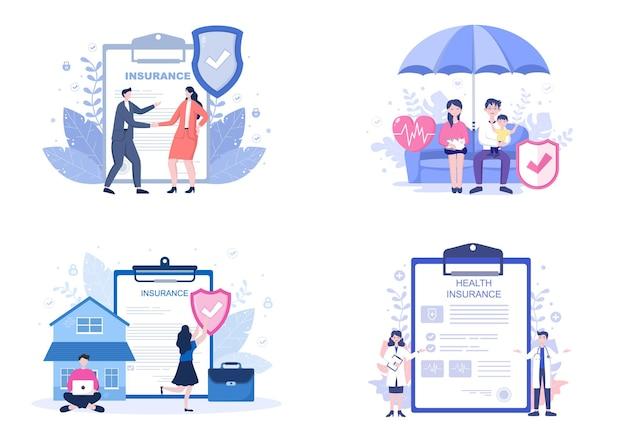 Rodzinne ubezpieczenie zdrowotne i ubezpieczenie na życie płaskie ilustracje zestaw