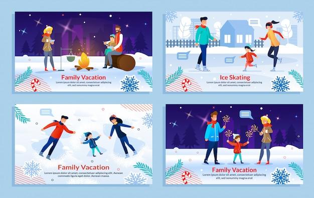 Rodzinne wakacje i rekreacja zestaw szablonów na zewnątrz