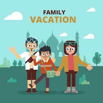 Rodzinne wakacje odwiedź azjatycki punkt orientacyjny
