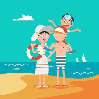 Rodzinne wakacje. szczęśliwa rodzina nad morzem. ilustracji wektorowych