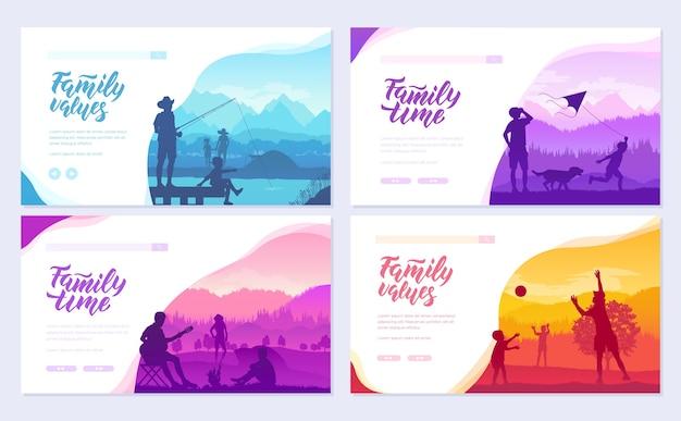 Rodzinne wakacje z dziećmi w zestawie kart przyrody. szablon ulotki dla przyjaznych kurortów, wejdź na stronę.