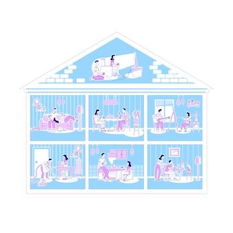 Rodzinne zajęcia w mieszkaniu płaskiej sylwetki ilustraci