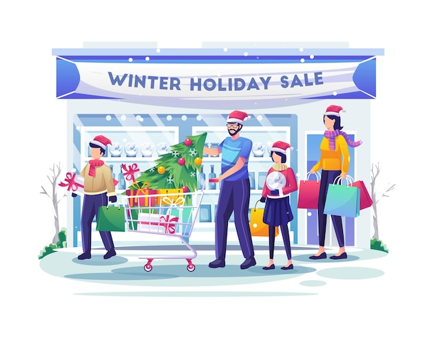 Rodzinne zakupy na targu z dziećmi kupują towary i prezenty ilustracja świątecznej wyprzedaży