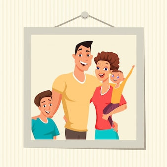 Rodzinne zdjęcie w płaskiej ilustracji ramki