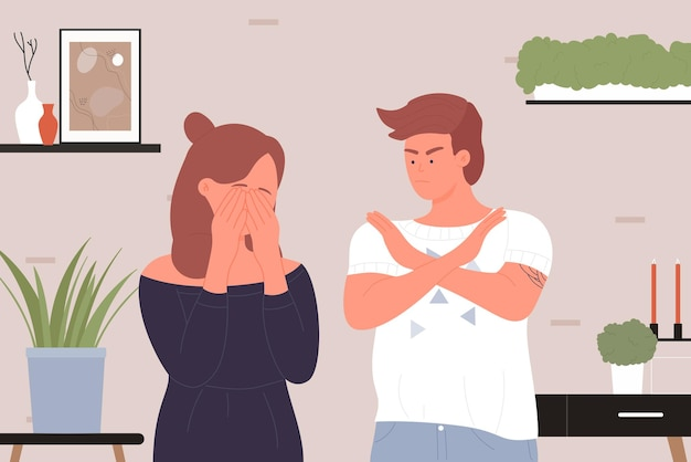 Rodzinni ludzie kłócą się młody zły człowiek kłóci się w gniewie smutna kobieta płacze konflikt