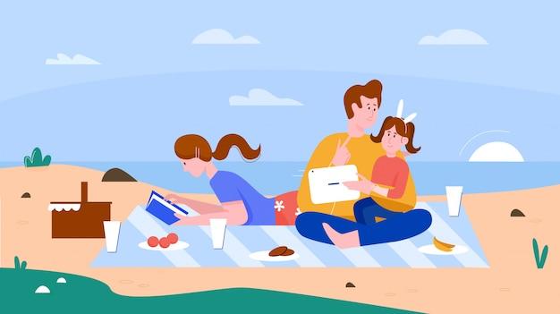 Rodzinni ludzie na płaskiej plaży latem ilustracja. kreskówka szczęśliwy ojciec i matka spędzają czas razem z dzieckiem na pikniku na plaży, letnie wakacje na plaży na tle plaży