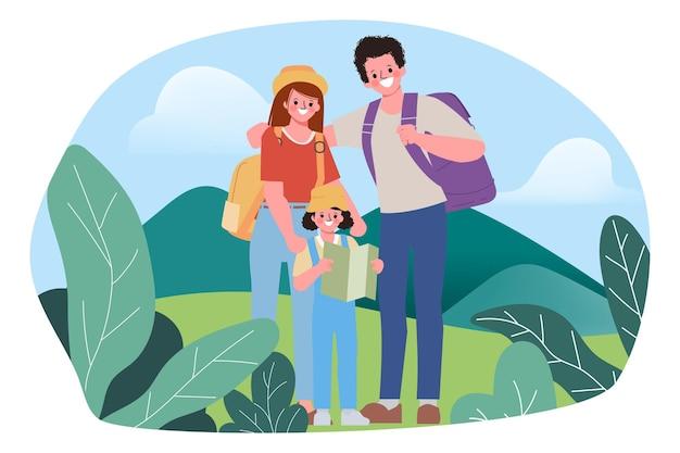 Rodzinni ludzie plecak koncepcja podróży na świeżym powietrzu.