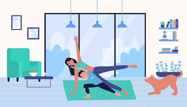 Rodzinni ludzie trenujący w domu, kreskówka trener matka i syn dziecko postać robi ćwiczenia sportowe