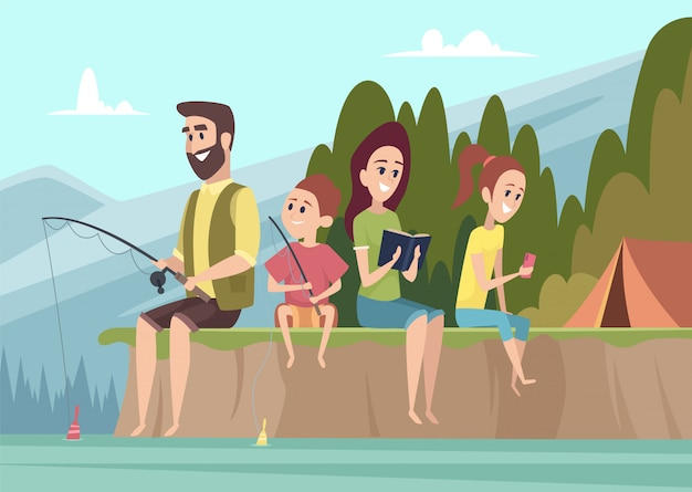 Rodzinni podróżnicy. dobiera się plenerowych odkrywców dzieciaków z rodzicami wycieczkuje campingowego wektorowego kreskówki tło