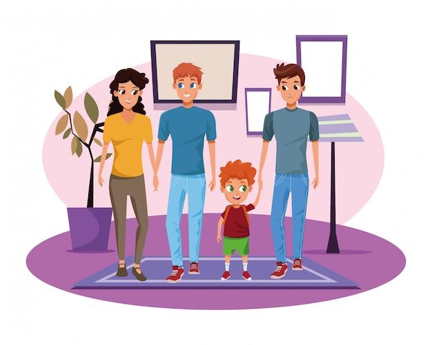 Rodzinni potomstwa wychowywają z dziecko kreskówką