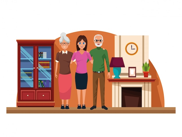 Rodzinni rodzice i córka kreskówki