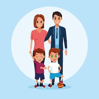Rodzinni rodzice i dzieciaki kreskówki