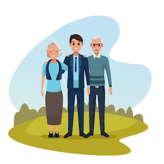 Rodzinni rodzice i syn kreskówki