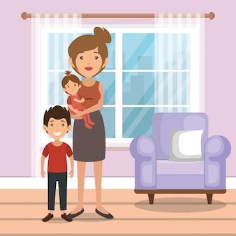 Rodzinni rodzice w salonie