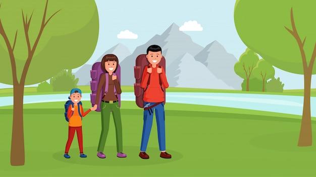 Rodzinny camping styl płaski
