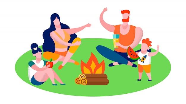 Rodzinny camping w lesie i podróży płaskim sztandarem