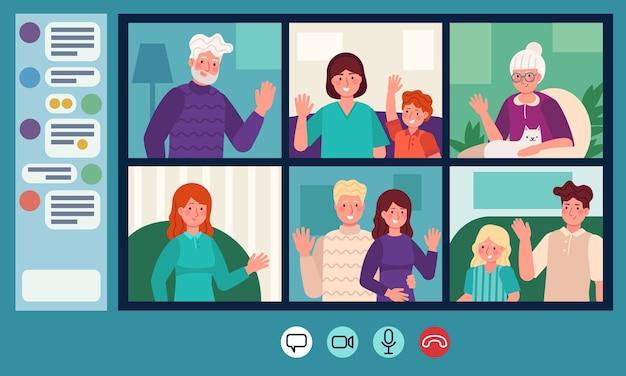 Rodzinny czat wideo. rodzice, dziadkowie i dzieci na czacie internetowym. rozmowa wideo online. osoby w podeszłym wieku koncepcja wektor konwersacji internetowej. ilustracja komunikacji rodzinnej rozmowy online
