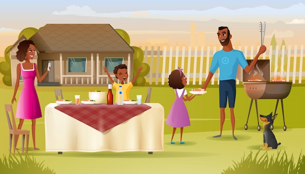 Rodzinny grilla przyjęcie na wektor kreskówki stoczni domu